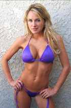 swimsuit model michelle in purple swimsuit