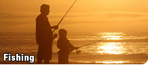 Man and Son Recreation Fishing at Sunset