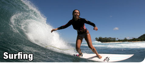 Smiling, Young, Attractive Woman Surfing