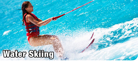 Attractive Young Woman Water Skiing for Recreation